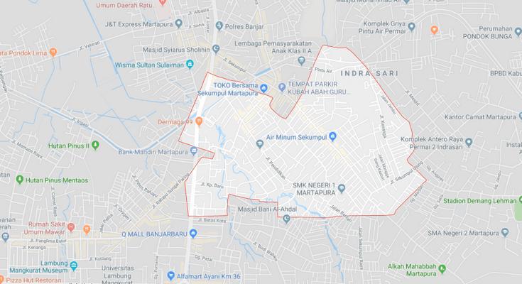 Wilayah Kelurahan Mentaos, Kota Banjarbaru menurut Google Maps